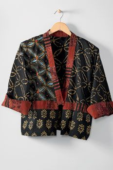 Styled By Print or Plain Kimono Style Jacket Indigo red floral S M L XL