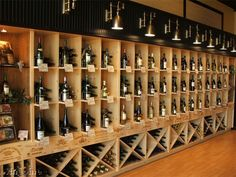 This is a wine store decoration, that applied wooden wine crate panels to catagorize specific wines on the wine racks