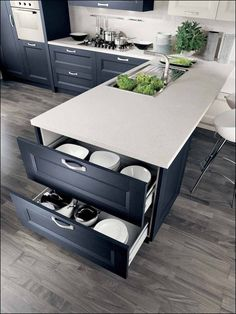 Fresh combination of cold gray cabinets and ivory countertop, functional storage endcap