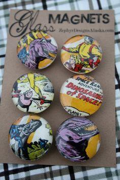 Glass Magnets  Dinosaurs in Space by ZephyrDesignsAlaska on Etsy, $8.00