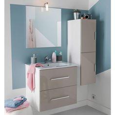 Cet ensemble de meubles de salle de bains blanc composé d\'un meuble ...