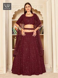 Rs5,600.00 Lehenga Choli, Maroon Color, Two Piece Skirt Set, Bridal Lehenga Online, Party Wear Lehenga, Saree Shopping, Georgette Fabric, Indian Wedding Outfits, Lace Border