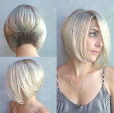 30 Beautiful and Classy Graduated Bob Haircuts blonde stacked bob Graduated Bob Hairstyles, Stacked Bob Hairstyles, Bob Hairstyles For Fine Hair, Trending Hairstyles, Asymmetrical Bob Haircuts, Short Bob Haircuts, Melena Bob, Kids Bob Haircut, Short Hair Cuts