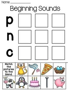 Beginning Sounds cut and paste fun! EIGHT different beginning sounds worksheets where students cut and paste the pictures in the boxes next to the letter/sound the word starts with. These are simple yet effective learning worksheets.   All 8 are provided in both full color and also in black and white that students can color in.