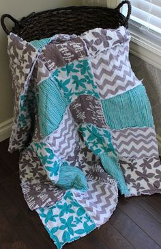 Baby Rag Quilt Crib Quilt Aqua and GreyGender by RozonsRags, $75.00