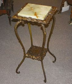 Antique Victorian Wrought Iron Onyx Table Plant Stand