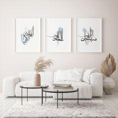 Islamic Wall Decor, Islamic Art, Christian Wall Decor, Above Bed Decor, Islamic Posters, Islamic Quotes, Bohemian Bedroom Decor, Bohemian House, 3 Piece Wall Art