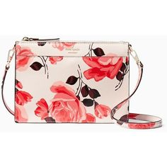 Kate Spade Cameron Street Roses Clarise ($198) ❤ liked on Polyvore featuring bags, handbags, shoulder bags, cross body, pink shoulder bag, man bag, pink shoulder handbags, pink crossbody and shoulder handbags