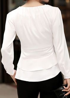 Stylish Tops For Girls, Trendy Tops, Trendy Fashion Tops, Trendy Tops For Women Stylish Tops For Girls, Trendy Tops For Women, Blouse Styles, Blouse Designs, Dressy White Blouses, Short Sleeve Collared Shirts, Camisa Formal, Tie Front Blouse, White Long Sleeve