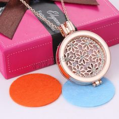 Perfume Locket Necklace, Zinc Alloy, with Cotton, with 2lnch extender chain, Flat Round, rose gold color plated, oval chain & with rhinestone & hollow, nickel, lead & cadmium free, 35mm, Length:Approx 23 Inch, 3Strands/Lot,china wholesale jewelry beads