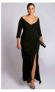 3cf42b1e01d IGIGI Plus Size Garbo Gown This structured style ensures a striking  silhouette with its wide faux-wrapped plunging neckline