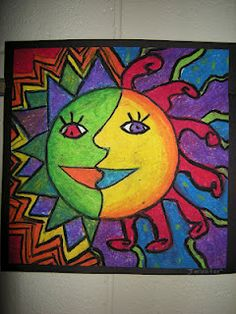 Fun suns... would be cool as either a warm/cool study or with complementary colors... we could of course talk about Aztecs or maybe even Pablo Picasso!