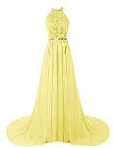 Dresstells® Women's Halter Long Prom Dresses Bridesmaid Wedding Dress Yellow Size 8 Dresstells http://www.amazon.com/dp/B00UJGOV0U/ref=cm_sw_r_pi_dp_kGQivb1M9CV72