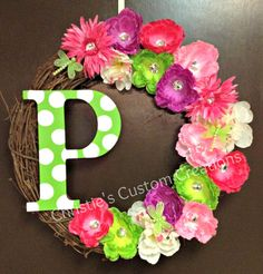 Monogram Initial Wreath  Summer wreath by christiehawkins1 on Etsy, $43.50 - I think I can make this myself!  I could put on bedroom doors for the girls.