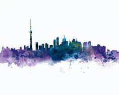 Toronto Print Toronto Skyline Art Watercolor Wall Art #Toronto #poster #Torontoskyline #Landmarks #cityscape #architecture #abstract #skyscraper #watercolor #skyline #splatters #urban #travel #city #art #canada #canadian #watercolour #silhouette #ontario #popart #retro #homedecor #artprint #wallartdecor