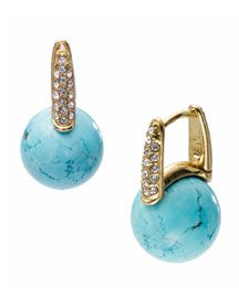 MK Turquoise Ball Drop Pave Earrings