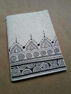 Diy notebook in rice paper. Zentangle design                              …