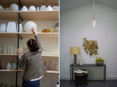 Right: art deco glass pendant -- Michelle James in Red Hook Studio | Remodelista