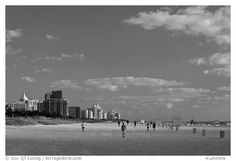 Black and White Picture/Photo: South Beach, early morning, Miami Beach. Black And White Beach, Black And White Pictures, Photography Guide, Beach Photography, South Beach, Miami Beach, Seattle Skyline, New York Skyline, Take Better Photos
