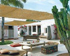 Eco-luxury Villa Adamo on Formentera Island Outdoor Rooms, Outdoor Gardens, Outdoor Living, Outdoor Decor, Exterior Design, Interior And Exterior, Porch And Terrace, Spanish House, Spanish Style