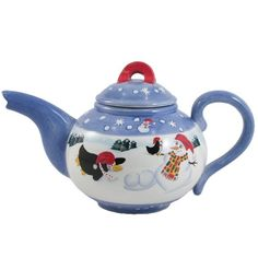 This hand painted glazed ceramic teapot features a fun winter wonderland scene of snowmen and penguins. The removable lid and no-drip teapot are dishwasher safe for ease of care. This teapot is a wonderful gift for any tea lover for the winter season!