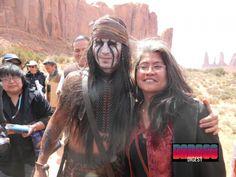 Johnny Depp sur le tournage de The Lone Ranger.