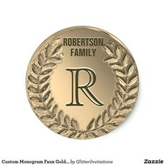 Shop Custom Monogram Faux Gold Foil Family Classic Round Sticker created by GlitterInvitations. Glitter Invitations, Monogram Styles, Gold Gifts, Monogram Gifts, Round Stickers, Gold Foil, Initials, Metallic Style, Diy
