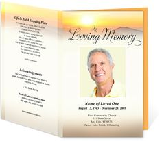 Funeral Programs: Summit Bifold Funeral Templates for a funeral order of service ceremony.