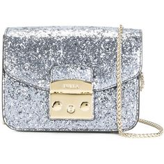 Furla Glitter Crossbody Bag (950 ILS) ❤ liked on Polyvore featuring bags, handbags, shoulder bags, cross-body handbag, leather cross body handbags, gray leather handbags, gray leather purse and leather handbags