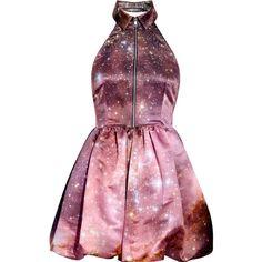 Christopher Kane Galaxy-print silk-satin dress ($1,530) ❤ liked on Polyvore featuring dresses, vestidos, galaxy, short dresses, women, halter mini dress, short halter dress, halter neck dress, halter dress and short purple dresses