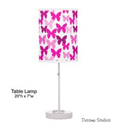 PINK BUTTERFLY LAMP Girls Table Desk Night Light Room Decor