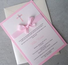 Baptism invitation, Pink invitation, baby baptism invitation, cross invitation, bow invitation but blue for a boy Christening Invitations Girl, Communion Invitations, Lace Invitations, Invitation Writing, Invitation Cards, Invitation Ideas, Invitation Templates, Baby Girl Baptism, Baby Christening