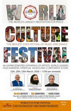 You are cordially invited to be part of the celebrations of the 35 years of The Art of Living! #WorldCultureFestival