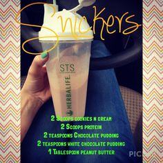 Herbalife. Snickers recipe. For More info visit my page: www.goherbalife.com/vanessacruz email me and mention this pin to get 25% off your order!! vatrcruz@yahoo.com