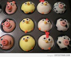 Farm animal cupcakes~
