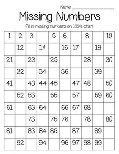 5 Best Images of Hundred Printable 100 Number Chart Partially Filled In - Free Hundred Printable 100 Chart, 100 Chart Fill in Missing Number Worksheet and Printable Fill in the Blank Hundreds Chart This page contains a lot of printable number charts up to Math Classroom, Kindergarten Math, Teaching Math, Teaching Resources, Montessori Math, Homeschool Math, Math For Kids, Fun Math, Preschool Worksheets