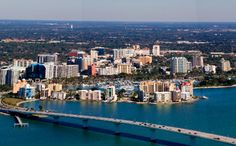 View from above of downtown Sarasota, Florida.
