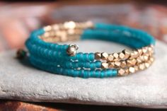 Kalimantan Matte Teal Glass and Faceted Brass Beads Stacking Memory Wire Bangle . Kalimantan Matte Teal Glass and Faceted Brass Beads Stacking Memory Wire Bangle Braclelet, Exotic and Chic Jewelry Gift Memory Wire Jewelry, Memory Wire Bracelets, Bangle Bracelets, Paracord Bracelets, Jewelry Gifts, Jewelery, Handmade Jewelry, Beaded Jewelry Designs, Handmade Wire