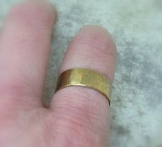 Men's Hammered Brass Band Distressed Wedding Ring by SilverSmack