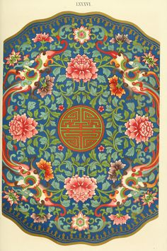 1867 - Examples of Chinese ornament selected from objects in the South Kensington museum and other collections - BY Owen Jones Illustrations, Illustration Art, Botanical Illustration, Chinese Ornament, Korean Painting, Chinese Painting, Owen Jones, Chinese Element, Paisley Art
