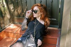 Danielle Victoria Shares her Boho Chic style with Sigalie Jewelry Rockabilly Fashion, Punk Fashion, Lolita Fashion, Fashion Boots, Red Orange Hair, Red Hair, Danielle Perry, Danielle Victoria, Pierce The Veil