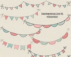 Hand drawn Bunting Clipart Doodle bunting  Scrapbooking