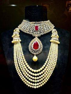 Diamond Choker and South Sea pearl Mala - Indian Jewellery Designs India Jewelry, Jewelry Art, Gold Jewelry, Jewelery, Fashion Jewelry, Women Jewelry, Diamond Jewelry, Indian Jewellery Design, Jewelry Design