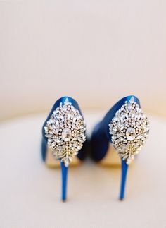 """Embellishments make these Badgley Mischka heels the perfect """"something blue"""" wedding shoes. Blue Wedding Shoes, Blue Wedding Dresses, Pantone Azul, Coral Colour Palette, Color Blue, Designer Wedding Shoes, Something Blue Wedding, Red Louboutin, Wedding Photography Tips"""