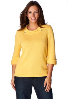 SPLASHDUCK sharing flattering fashion styles for the modest woman. Solid Tab Pullover Sweater - Christopher & Banks