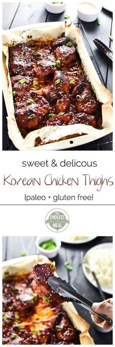 Sweet Korean Paleo Chicken Thighs with Cauliflower Rice | A super easy to make and incredibly delicious paleo meal your whole family will love! | theendlessmeal.com