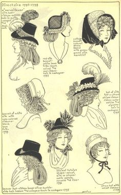 f1c50997c6a 1795-99 - différentes coiffures 18th Century Costume