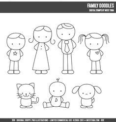 Family Doodles Digital Stamps Clipart Clip Art by MissTiina Doodle Art, Doodle Drawings, Cartoon Drawings, Easy Drawings, Doodle Kids, Easy People Drawings, Drawing Lessons, Art Lessons, Drawing Tips