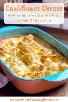Yummy comfort food - SCD Cauliflower Cheese - perfect as a side to roast beef, chicken, lamb or just on it's own. Cauliflower Dishes, Cauliflower Cheese, Almond Joy, Almond Milk, Healthy Recipes On A Budget, Vegetarian Recipes, Delicious Recipes, Yummy Food, Most Popular Recipes