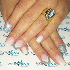 We love Nails ♡ Beautiful set of french ombre Nails with a touch of glitter & glam. By Mel. #frenchombre #glitter #glam #acrylic #youngnails #nsi #SkinDNA #skindnapretoria